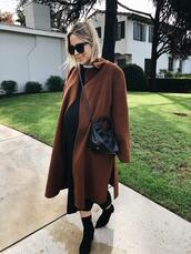 damsel in dior,blogger,shoes,coat,sweater,dress,bag,fall outfits,brown coat