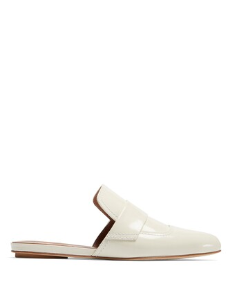 backless loafers leather white shoes