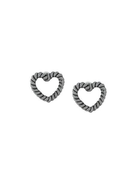 heart women earrings stud earrings grey metallic jewels