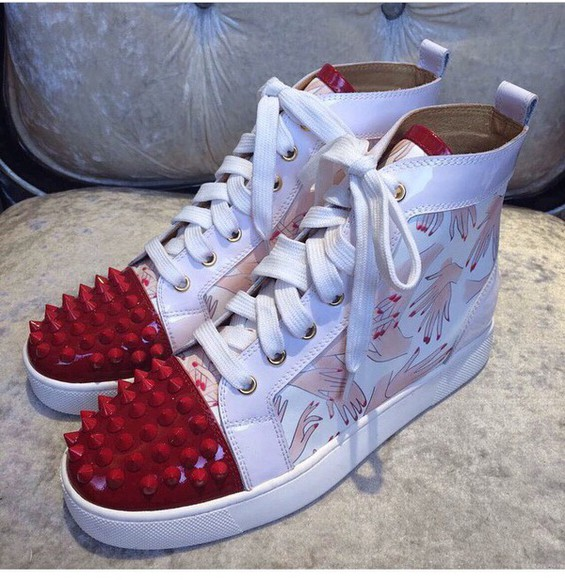 shoes spikes style high top sneakers sneakers nails red