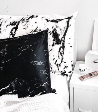 home accessory pillow marble bedding bedroom black and white print printed pillow minimalist