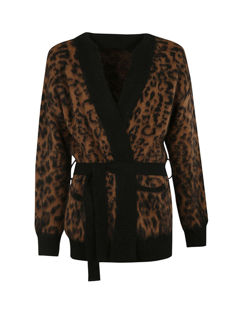 Laneus Leopard Knit Cardigan in brown