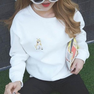 sweater white long sleeves dog casual fall outfits trendy cool winter outfits fall sweater winter sweater musheng