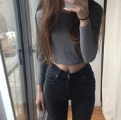 top,crop tops,grey,gray crop top,grey crop top,sweater crop top,long sleeve crop top,high waisted jeans,high waisted,jeans,black jeans,black high waisted pants,dark,casual,fashionista,style,stylish,trendy,cute,grunge top,grunge crop top,grunge wishlist,grunge,tumblr,cool,tumblr outfit,tumblr top,tumblr clothes,streetwear,blogger,girl,edgy,instagram,pretty,knitwear,beautiful,cropped,clothes,gorgeous,women,on point clothing