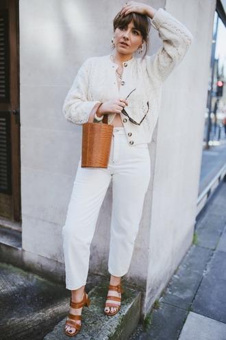 pants white pants sandals high heel sandals bag brown bag sunglasses jacket