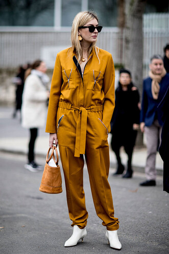 jumpsuit all yellow outfit yellow jumpsuit boots white boots ankle boots kitten heels bag handbag sunglasses