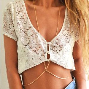 Fashion Sexy Tassels Cross Body Link Belly Waist Necklace Chain Slave Harness   eBay