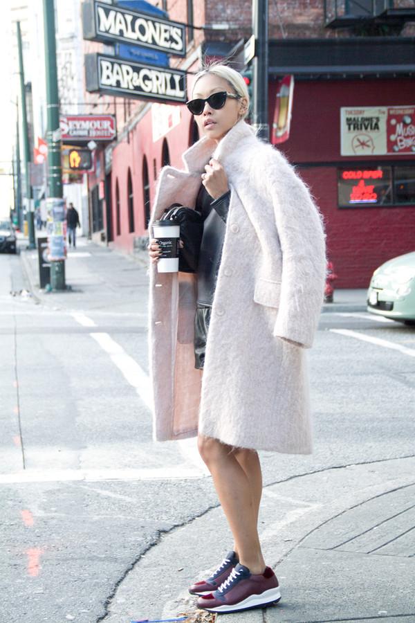 the haute pursuit coat fuzzy coat winter coat burgundy sneakers pastel coat leather shorts white fluffy coat cat eye black sunglasses sunglasses