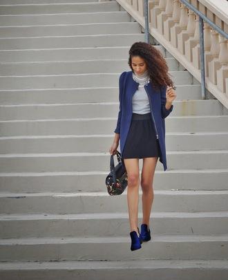 clothes to homme blogger velvet shoes blue shoes handbag blue jacket