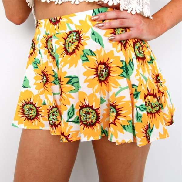 Tropical Sunflower Prints High Waisted Flare Skirty Mini Beach Shorts 6 8 10 12 | eBay