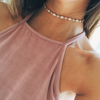 jewels necklace top crop tops blush halter top tumblr cute summer blush pink blush top neck choker necklace girl body color/pattern gold diamonds gold choker jewelry gold necklace diamond choker necklace accessories  chain