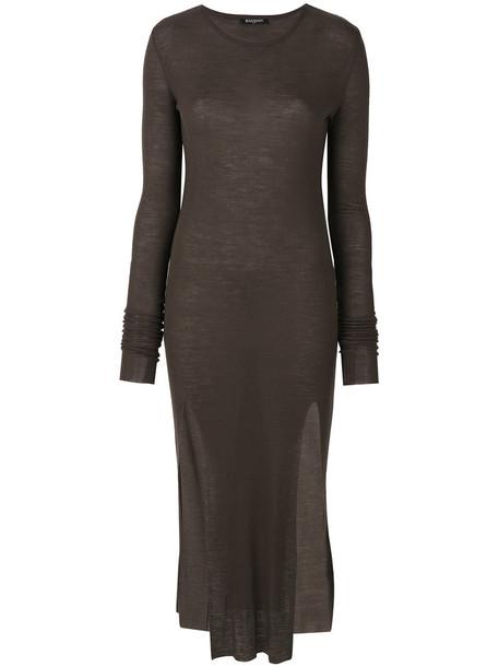 Balmain dress midi dress women midi wool brown