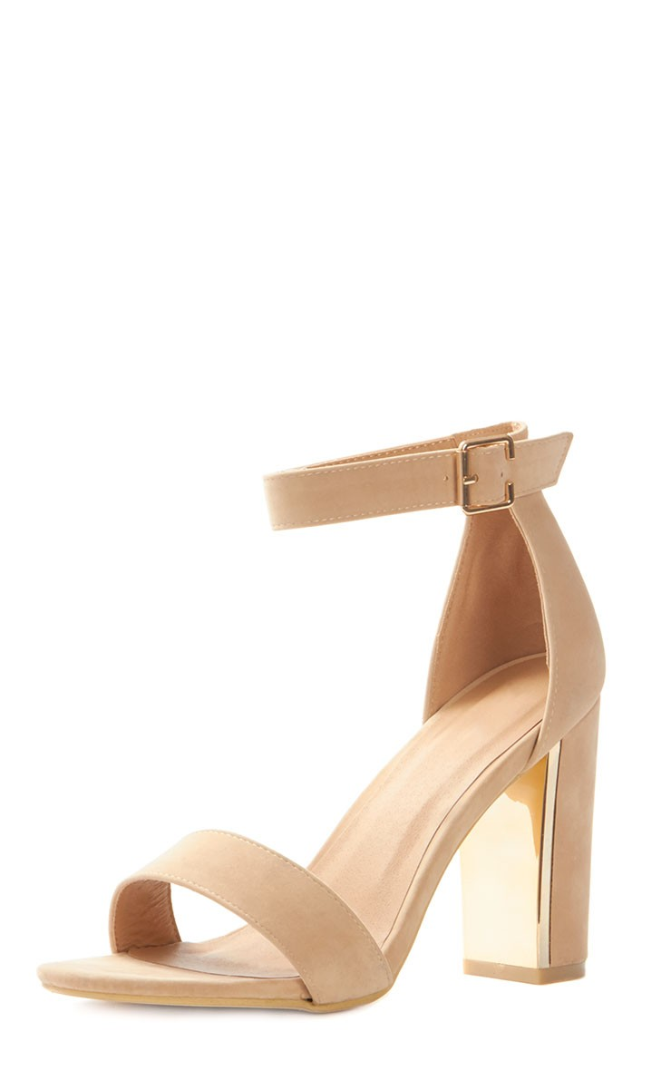 Nude Suede Gold Trim Block Heeled Sandal - Shoes ...