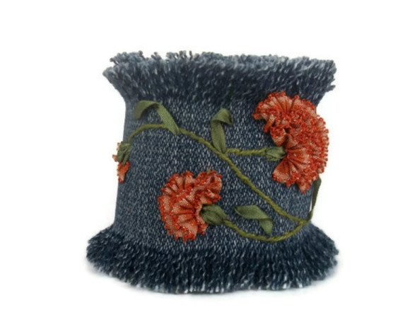 jewels bracelet jewelery bracelet  denim hand embroidered cuff bracelet