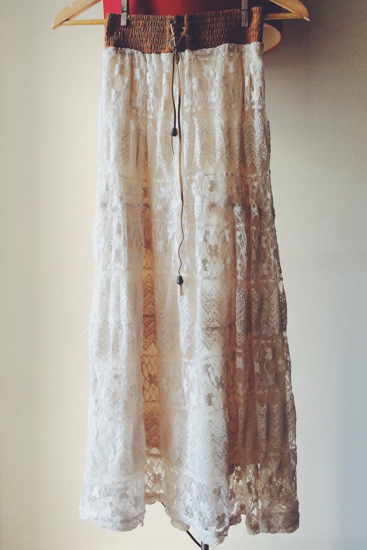 Suede Banded Lace Long Skirt, Maxi Skirt Long Skirt, white skirt ...