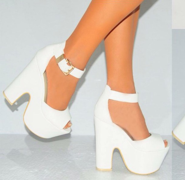 shoes girly heels white high heels