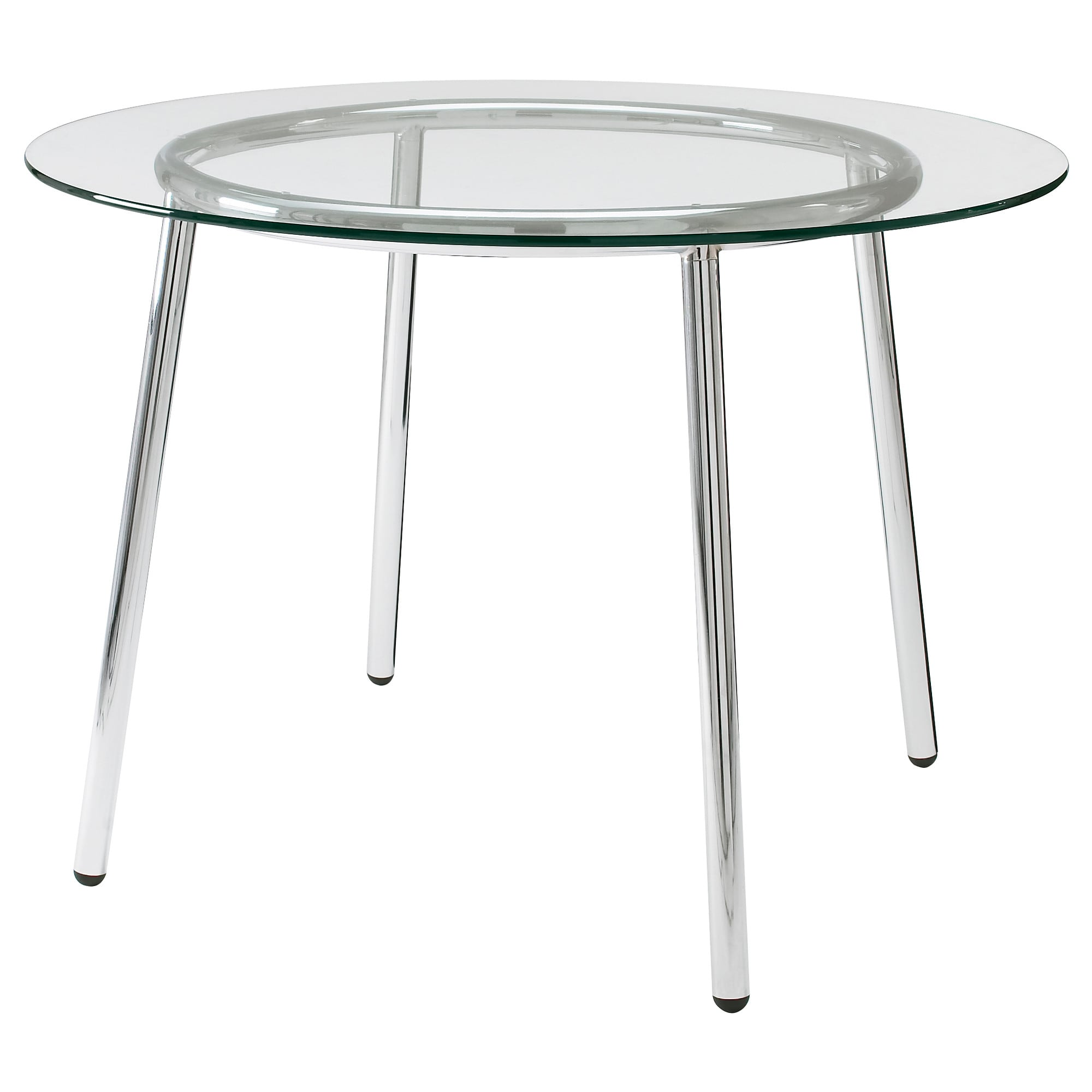 SALMI Table Glass/chrome-plated 105 cm - IKEA