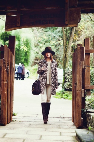 once upon a time blogger coat hat bag leopard print