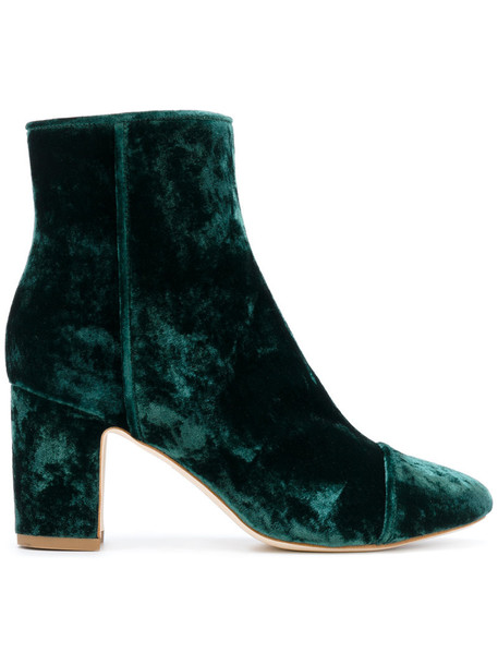 Polly Plume women boots ankle boots leather velvet green shoes