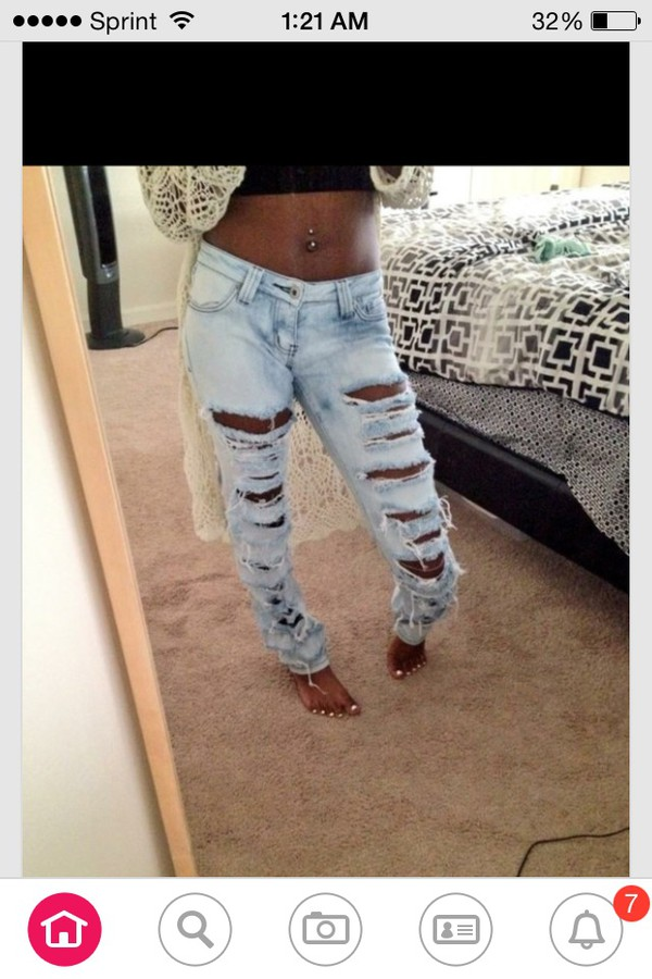 jeans light blue holes long skinny jeans