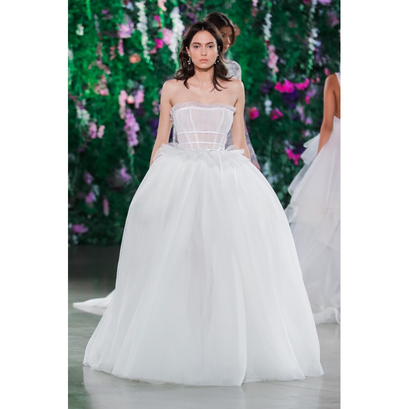 Galia Lahav Fall/Winter 2018 Daffodil Blush Sweet Court Train Sleeveless Ball Gown Scalloped-Edge Ruffle Tulle Bridal Dress - Brand Prom Dresses|Beaded Evening Dresses|Charming Party Dresses