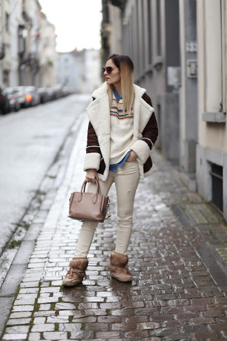 from brussels with love blogger coat sweater shirt jeans bag shoes shearling jacket winter outfits boots winter boots handbag