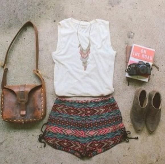 boho shorts bag shoes boho chic booties shoulder bag jewels shirt printed shorts