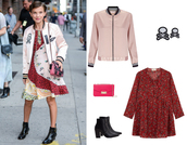 jacket,patchwork dress,pink bomber,patch,patched bomber,millie bobby brown,fashion week 2016,coach,furla,studded shoes,ankle boots,red dress,back to school,fall outfits