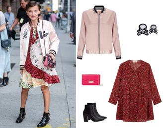jacket patchwork dress pink bomber patch patched bomber millie bobby brown fashion week 2016 coach furla studded shoes ankle boots red dress back to school fall outfits