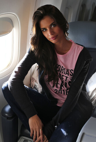 jacket sara sampaio model off-duty instagram victoria's secret model victoria's secret