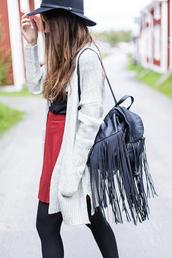 bag,tumblr,black backpack,fringe backpack,backpack,cardigan,grey cardigan,skirt,mini skirt,red skirt,tights,opaque tights,hat,felt hat,black hat