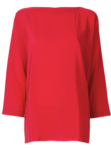 blouse loose women fit silk red top