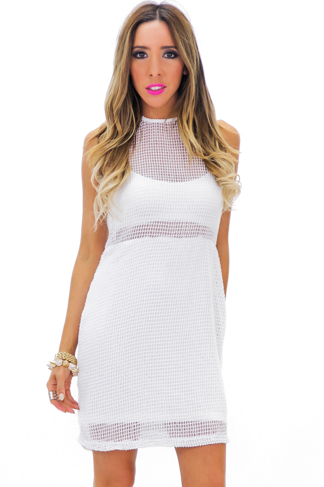 Heckford mesh mini dress