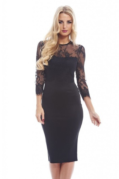 Collection Black Dress Lace Sleeves Pictures - Reikian