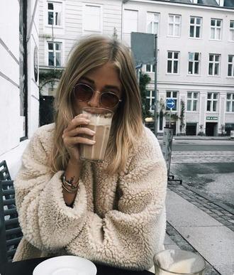 coat fuzzy coat warm sweater fall sweater fur tan beige top beige fluffy coat teddy bear coat