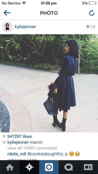 kylie jenner keeping up with the kardashians black trench coat navy waist shirt dress goth long t-shirt dress