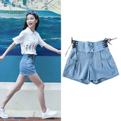 shorts,goth,gothic shorts,ribbon,lace up,lace up shorts,denim shorts,High waisted shorts,blue,jeans,kfashion,korean fashion,jfashion,harajuku,japanese streets,korean street fashion,korean style,button up denim,kawaii,fairy kei,pastel,tumblr,promoter wanted,dejavucat