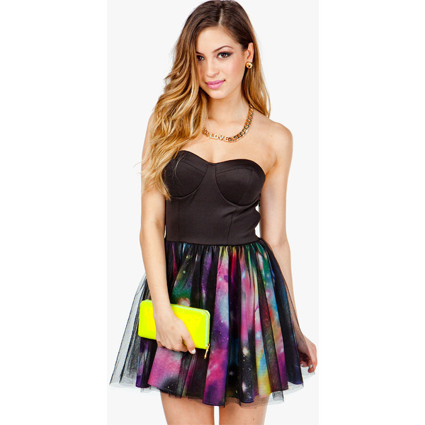 Galaxy Mesh Overlay Poof Dress - Polyvore