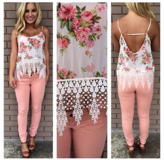 tank top flowered top tank lace top lace detailing