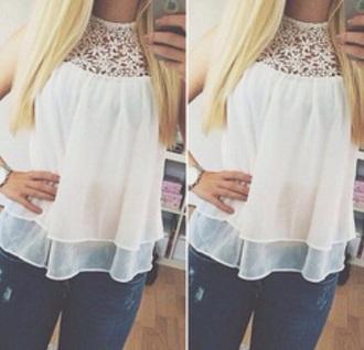 blouse white blouse white top lace top