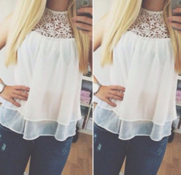 blouse white blouse white top lace top