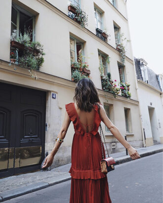 song of style blogger dress open back red dress ruffle dress shoulder bag mini bag backless dress date dress quilted bag romantic summer dress self portrait