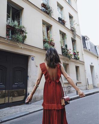 song of style blogger dress open back red dress ruffle dress shoulder bag mini bag
