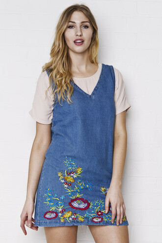 dress denim dress embroidered embroidered dress v neck dress