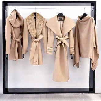 coat tan jacket winter outfits chic classy closet needs street style fashion off-white white fall outfits black sweater fur faux fur trench coat beige draped fall sweater nude