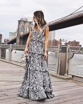 dress,tumblr,maxi dress,long dress,black and white,ruffle,bag,mini bag