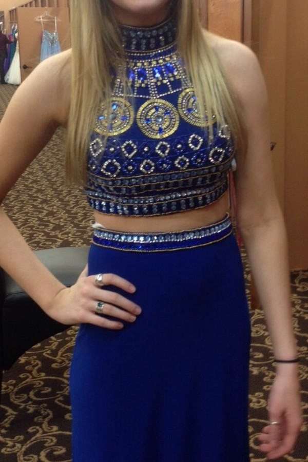 dress blue dress prom dress sherri hill shirt