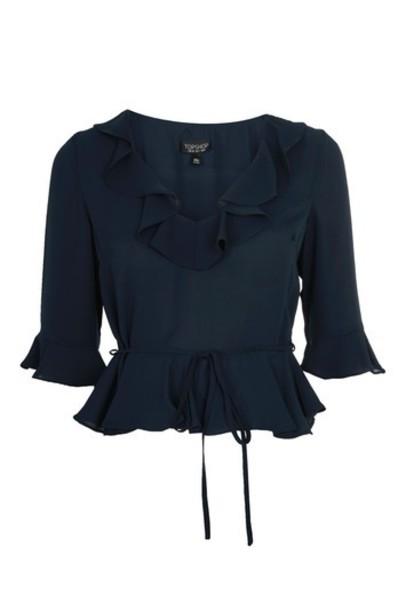 Topshop blouse ruffle navy blue top