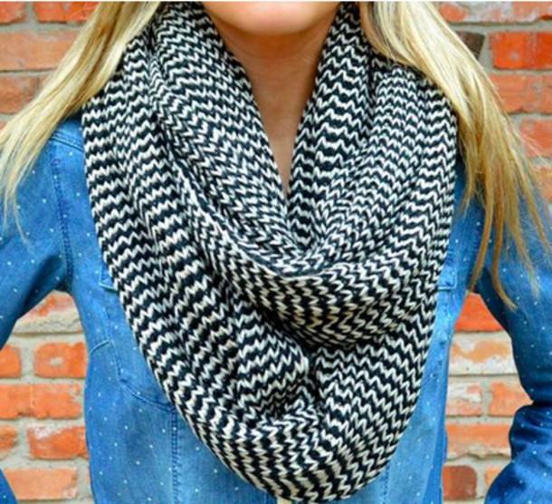 Scarf: knitted scarf, infinity scarf, infinity scarf, loop scarf, herringbone...