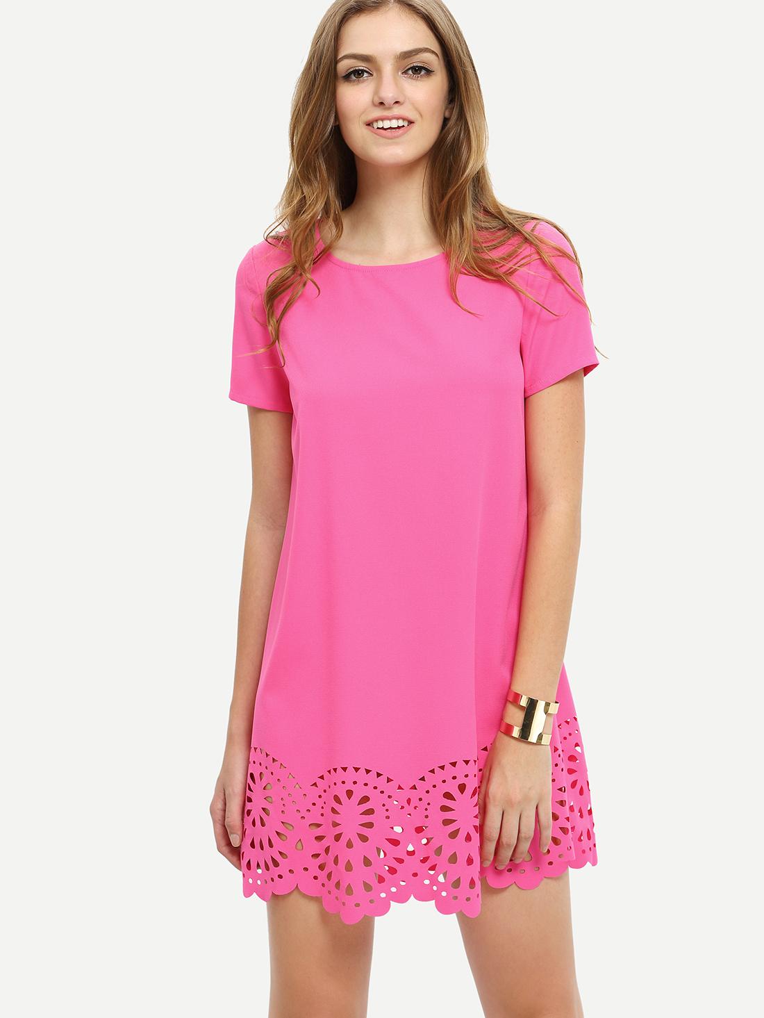 ffd3a67b27bc Hot Pink Short Sleeve Hollow Shift Dress -SheIn(Sheinside)